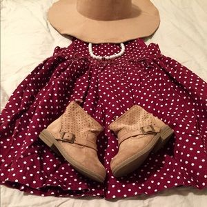 NWOT Toddler Girl 3T Burgundy Polka Dot Dress